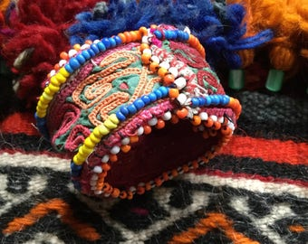 Colorful handmade bracelet cuff with vintage fabric