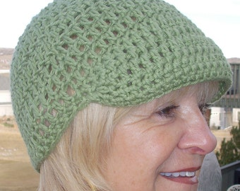 Women's chemo hat, green crochet newsboy, soft and comfortable summer hat, cute green summer hat, free shipping for chemo hats in USA