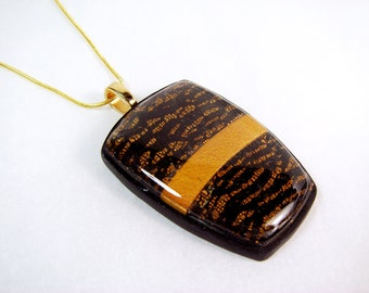 Black and Gold Polymer Clay Necklace, Resin Necklace, Gold Necklace, Distresses Necklace, Jewelry, Handmade, Mom Gift, Gift for Her, Pendant