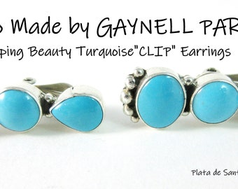 Navajo~Gaynell Parker/Shawn Yazzie~Sleeping Beauty Turquoise~Sterling CLIP Earrings~Free Shipping