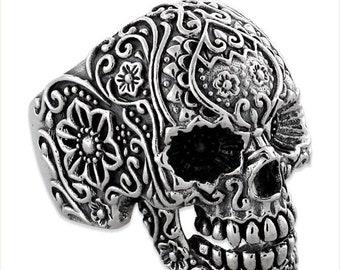 Memorial Day SALE Sterling Silver 925 Biker Skull Ring Floral Design Made in USA