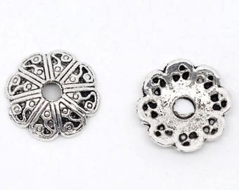 Tibetan Style Antique Silver Bead Caps, 12 mm x 3 mm, Pack of 50 (2219)