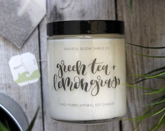 GREEN TEA + LEMONGRASS Soy Candle   8oz.   Spa Scented Candle   Mothers Day Gift   Home Decor   Wedding Favor   Clean Relaxing Spring Scent