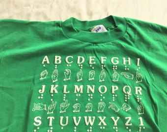 Vintage 80s Jerzees 390 Sign Language Braile Alphabet T Shirt XL