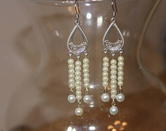 Silver, Boho, Chandelier, Pearl Earrings. Versatile, Pearl, Chandelier Earrings. Bohemian Pearl Earrings. White Pearl, Chandelier Earrings