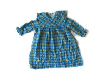 vintage dress children girl 1960s mod plaid turquoise yellow size 5 6