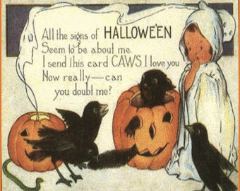 Art Print on silk - silky print Halloween Sweet little ghostie w pumpkins crows CAWs I love you - Crazy Quilt Fiber Arts Collage Applique