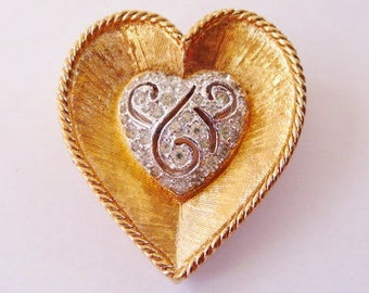 Panetta heart shape pin brooch | gold tone | faux sterling | designer signed vintage valentine | gift for her | vintage jewelry