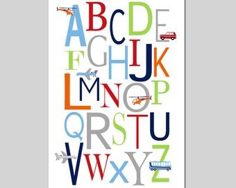 TRANSPORTATION Alphabet Nursery Art ABC Print Baby Boy Nursery Decor Car Plane Airplane Helicopter Bus - Choose Your Colors