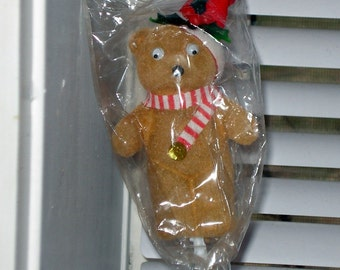 Flocked Christmas Bear, Holiday Decoration, Floral Craft Pick, Crafting Supply, Brown, Red and White Striped Scarf, NOS   (631-10)