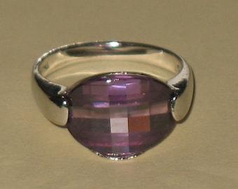 Eleganten lila Kristall Sterling Silberring
