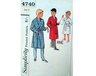 """Vintage 60's Simplicity 4740 Boys' Monogrammed Dressing Gown Bath Robe Sewing Pattern Age 8 Chest 26"""""""