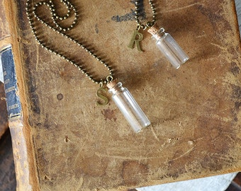 Initial Botle Necklace - Message In A Bottle - Glass Bottle - Customize This Necklace