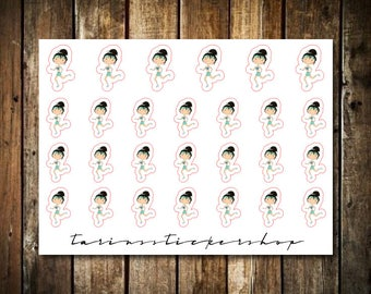 Running - Cute Brunette Girl - Functional Character Stickers