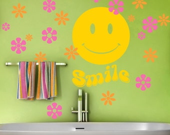 Bathroom Wall Decals, Hippie Decor, Retro Smiley Face with Hippie Flowers Vinyl Wall Decals, Girls Boys Tween Teen Bedroom Decor (001612d8v)