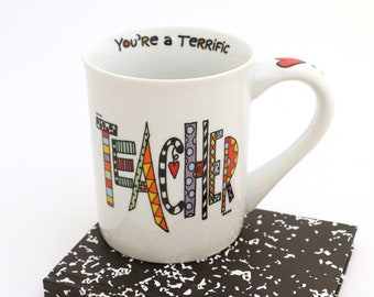 Teacher mug, funny mug for teacher. gift for teacher, cuppadoodle mug, Terrific Teacher, gifts under 15