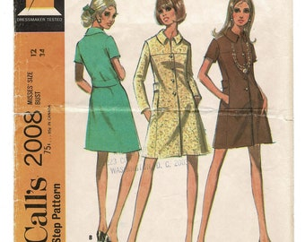 1960s McCalls 2008 MOD MINI DRESS pattern Misses A-Line Coatdress w/ Button front, Vintage Women Sewing Patterns, Size 12 Bust 34 Complete