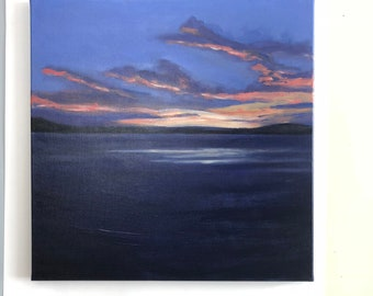 """Abstract Sunset Painting Seascape Art Acrylic Original // """"Just Before""""  20"""" x 20"""" Stretched Canvas"""