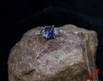 Alexandrite Color Change Sapphire & Diamond Emerald Celtic Knot Engagement Ring 2ct 8x6mm Custom 14k 18k White Yellow Rose Gold Platinum