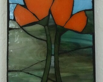 California Poppies stained glass mosaic wall art
