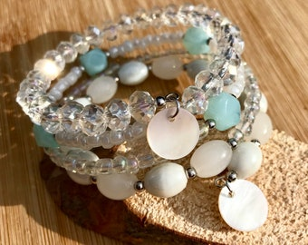 Wrap bracelet from memorywire with aquamarine and crystals