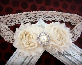 Ivory/Cream Chiffon Rosette Flower Headband