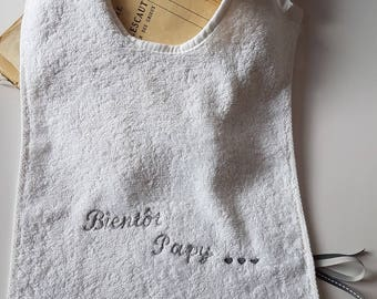 "Bib with ""Soon POPs"" 100% cotton embroidered in gray pregnancy announcement"