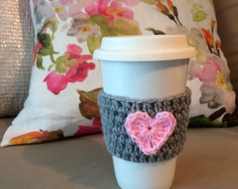 Grey crochet cup cozy with a pink heart! Perfect for Valentine's Day!