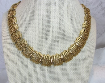 Vintage Monet Gold Tone Abstract Necklace