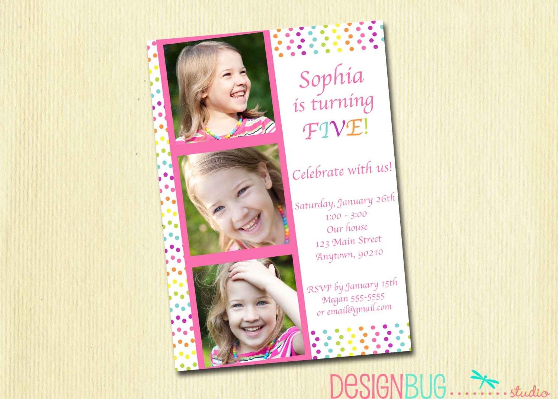 Girls Rainbow Polka Dot Birthday Invitation Custom Photo