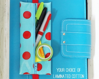 Banded planner supply case | coloring book pouch | Bible journaling pouch | pencil holder | choice of laminated cotton fabric