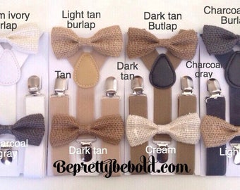 Burlap Bow tie Tan Bow ties for Men Bowtie and Suspenders Set Bow ties for boys Bow tie and suspenders  Wedding Ring Bearer Outfit Groomsmen