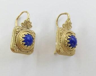 Lapis Lazuli hook earrings in gold filled silver