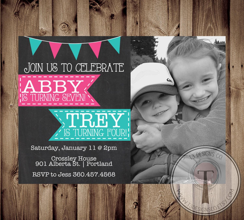 Joint Birthday Party Invitation, Twin Birthday Invitation, Boy and ...