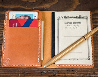Tiny notebook wallet for Apica CD5 notebook - tan bridle leather