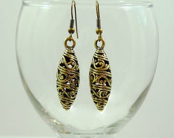 Antiqued Gold Earrings Gold Tribal Earrings Antique Gold Drop Earrings Gold Ethnic Earrings Antique Gold Brass Earrings Antique Gold Drops