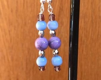 Blue, Purple, and Silver Drop Earrings, Blue Purple Silver Beaded Drop Earrings, Blue Silver Purple Earrings, Purple Blue Earrings
