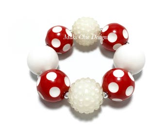 Toddler or Girls Red and White Polkadot Chunky Bracelet - Toddler Red chunky bracelet - Bubblegum chunky bracelet - Mouse Chunky Bracelet