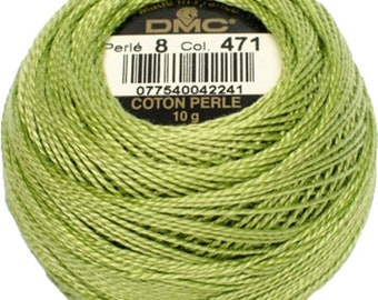 DMC 471 Perle Cotton Thread | Size 8 | Very Light Avacado Green