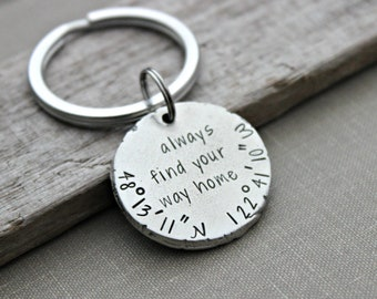 always find your way home - custom GPS coordinates keychain - latitude and longitude - gift idea for him - silver thick pewter coin