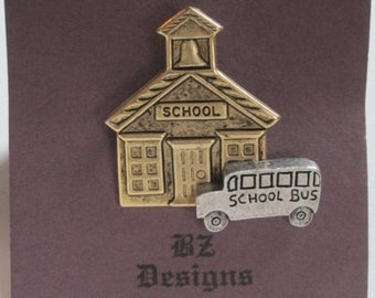 School and School Bus Pin - Great gift for Teacher, School Worker, Bus Driver or anyone who works in education