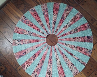 Quilted Christmas Tree Skirt Handmade Quiltsy Idaho Green Pink