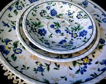 Shabby Chic Plates Blue Plate Set Blue Country Cottage Dinnerware Set Blue Floral Design Small Yellow Flowers Nikko Blue Floral Plate & Shabby chic plates   Etsy