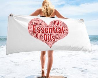 Essential Oils love heart word art Towel