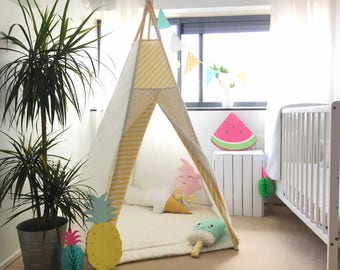 Tipi tent SUMMER TIME with mat - teepee, play tent, canvas teepee, wigwam, speeltent, toddler tent,high quality teepee, indoor tent,play mat