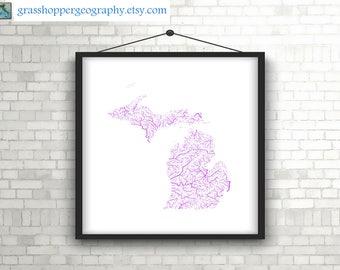River basins of Michigan in rainbow colours (high resolution digital print) map print, wall art, poster map, home decor, wall decor, gift