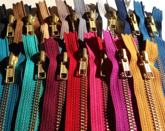 12 inch Metal zippers, Gold teeth zippers, 15 pc, black, brown, camel, gray, white, peacock, blue, red, mustard, teal, match leather fabrics