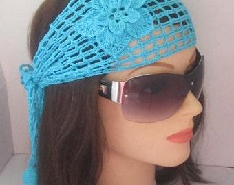 Crochet Summer Women headband Boho Head wrap Lace Head Band Women Summer Head scarf Headbands, Blue Women Bandana Summer Hair Accessories