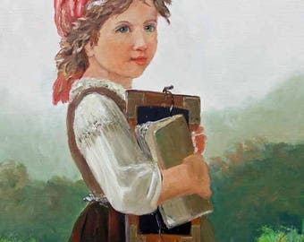 Country School Girl Oil on Canvas Oil Painting Reproduction of Johann Von Bremen by Carol Lytle Giclee prints Fine Art Master's paintings #7