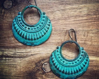 Hoops Earrings / Verdigris Jewelry / Brass Earrings / Verdigris Patina Earrings / Patina Earrings